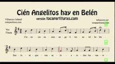 Cien Angelitos hay en Belén Partitura de Voz y Flauta Dulce Villancico Infantil