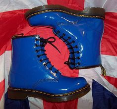 Mint Con*Royal Blue Patent Leather Dr Martens*Bright*Doc Martins*Quirky*UK 7