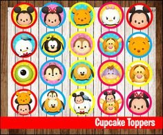 INSTANT DOWNLOAD Cupcakes Toppers INSTANT DOWNLOAD, Printable cupcakes Topper…