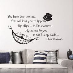 Alice in Wonderland Quote Wall Vinyl Decal Cheshire Cat Stic.- Alice in Wonderland Quote Wall Vinyl Decal Cheshire Cat Sticker Smile Decal Wall Lettering For Home Bedroom Nursery Decor - Alice Quotes, Movie Quotes, Book Quotes, Funny Quotes, Cat Alice, Vanity Set Up, Cheshire Cat Quotes, Cheshire Cat Smile, Quote Wall