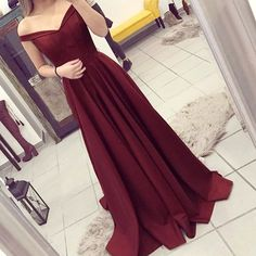 Burgundy A-line Off the Shoulder Pleated Sweep Train Prom Dress prom dress,prom dresses,dress,dresses,fashion,fashions
