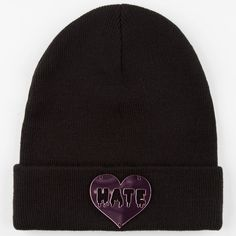 Hate Heart Beanie ($13) ❤ liked on Polyvore featuring accessories, hats, black, beanie cap, beanie cap hat, heart hat and beanie hats