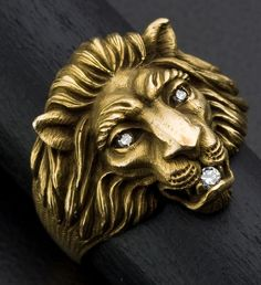 Gent's Diamond & Gold Lions Ring