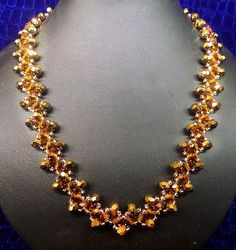 Free pattern for beaded necklace Golden Eye   U need: seed beads 11/0 rondelle beads 6-8 mm faceted beads 6-8 mm