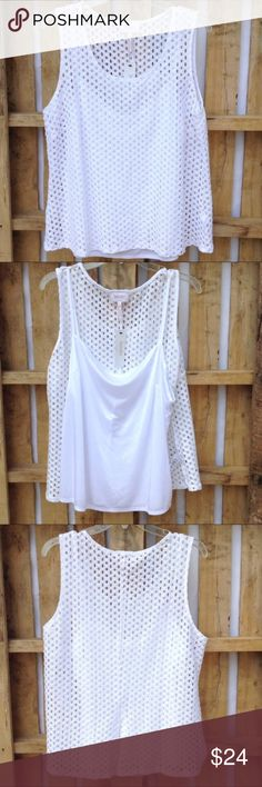 """Chinese Laundry eyelet top with camisole Beautiful top! Versatile for all seasons. Worn alone or with a blazer! Cami is sewn in at shoulder straps.  6"""" slit back of both pieces.  22"""" ↕️ 21"""" ↔️ armpits Chinese Laundry Tops Blouses"""
