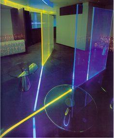 These Fields: July 2011 Futuristic Interior, Retro Futuristic, New Wave Bar, Night Club, Night Life, Nightclub Design, Neon Noir, 1980s Design, Neon Nights