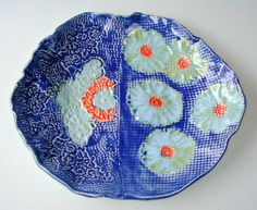 indigo and coral lace platter by Clayshapes