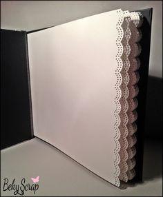 Libro de firmas boda 31x23 cm / 25 hojas blancas troqueladas con forma de blonda. Cosido japonés Asa-no-ha Toji