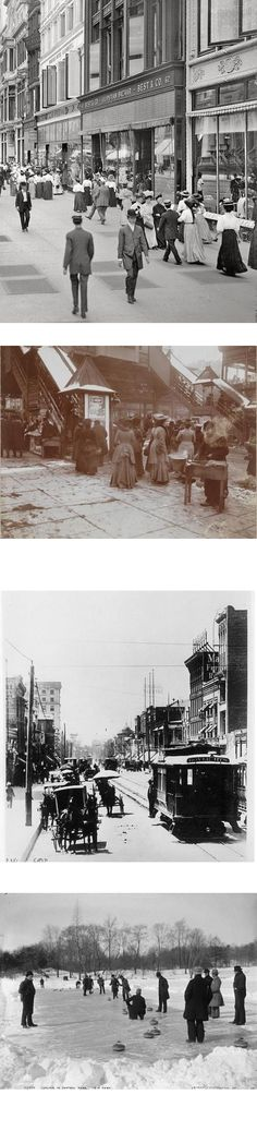STREET-SCAPES; Ladies on a freezing day, surrounding the 23rd Street entrance to the Sixth Avenue Elevated Railroad, placing them just a few blocks from the biggest department stores in the world. 1903C|  West 23rd Street, New York circa 1905. |  Broadway, Los Angeles,looking South from 5th Street by Metro Transportation Library and Archive,Los Angeles. 1905 |   Curling in winter, near the turn of the century.Central Park In The Early 1900s