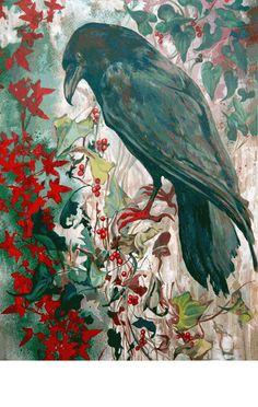 Raven oil painting - Teresa Winchester. Oil on wood panel
