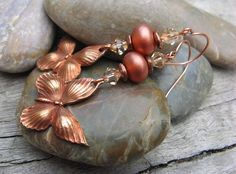 Copper Butterflies  with pixie dust lampwork beads