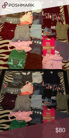 Huge medium/large Bundle, LOT !! You get all this for once price ! Jeans , shorts , sweaters , tank tops , dresses , rompers , Tuttle necks VS PINK ULTILMATE JACKET , Nike pants , rue 21 rompers , one clothing , HURLEY x ! Most are size medium se large the vs zip up is a large would fit a medi comfterable :) taking offers ! All pants and shorts are size 9/10/12/13 includes ugly Christmas sweater :) PINK Victoria's Secret Sweaters Crew & Scoop Necks