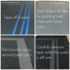 painted plywood floors Steps to painting a border on your painted floor (or other painted project) so that you get nice, clean paint lines Porch Flooring, Linoleum Flooring, Diy Flooring, Flooring Ideas, Hardwood Floors, Tape Painting, Diy Painting, Painting On Wood, Floor Painting