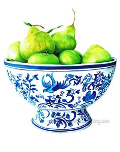 Autumn Pears by Tracey Fletcher King now available as a print in three sizes. I love painting blue and white china and chinoiserie so painting this was special on many levels Fruit Painting, Autumn Painting, Fall Paintings, Ink Painting, Blue And White China, Blue China, Framed Art Prints, Fine Art Prints, White Wall Art