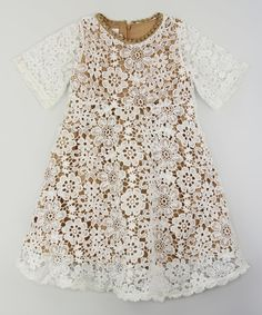 This Blossom Couture Tan & White Floral Lace-Overlay Dress - Kids & Tween by Blossom Couture is perfect! #zulilyfinds