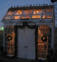 Small greenhouse in evening