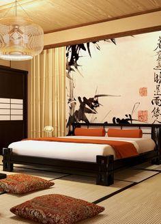 Bedroom Japan style Спальня с деревянной темной кроватью и шкафом в японском (восточном) стиле