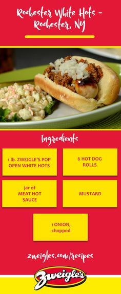 If you're from Rochester, you know white hots! Keep it classic with Rochester meat sauce, mustard and onions - a little taste of home. This is our favorite way to enjoy our hot dogs during the summertime.     www.zweigles.com facebook.com/zweigles #zweigles #recipe #hotdog #meatsauce #hotsauce