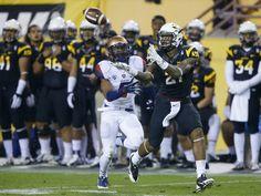 Nov. 30 - ASU wide receiver Jaelen Strong (21) beats Arizona cornerback Shaquille Richardson (5) for a 61-yard touchdown reception in the th...
