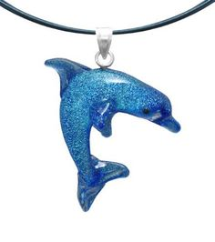 """Sterling Silver Dichroic Glass Blue Dolphin Lampwork Pendant Necklace on Stainless Steel Wire, 18"""" Amazon Curated Collection. $18.00. Save 11%!"""