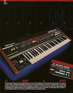 Roland Juno 60 advertisement in Keyboard Magazine (1983). http://retrosynthads.blogspot.com/2009/06/roland-juno-60-keyboard-1983.html