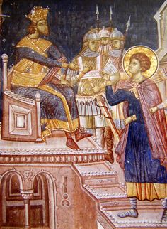 Osuda sv. Đorđa na smrt. Manastir Visoki Dečani, istočni zid priprate. 1340. godina Kosovo i Metohija