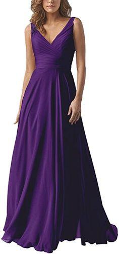 Women s V-Neck A-line Long Bridesmaid Dress Chiffon Elegant Prom Evening  Dress Darkpurple d9322e7562c9