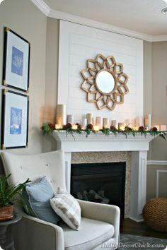 Love the white boards over the fireplace
