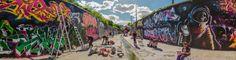 Canal d'expression - Le verdanson, déversoir des eaux pluviales des épisodes cévenol, en période sèche il devient littérallement un canal de l'expression grafique tant au travers de tag et de graffitis que d'oeuvres éphémères plus imposantes et abouties.
