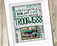 Girl Scouts Leader Gift ~ Girl Scouts Printable Personalized Photo Subway Art ~ Digital File ~ Girl Scouts Troop Gift Bridging Gift Poster