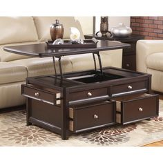 Signature Designs by Ashley Carlyle Almost Black Lift Top Cocktail Table - Free Shipping Today - Overstock.com - 16623765 - Mobile