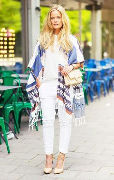 Poncho with white tee and white jeans