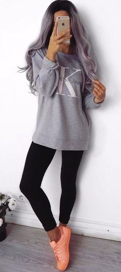 93468d7e062  fall  outfits women s gray Calvin Klein sweater Outfit Ideas With  Leggings