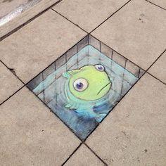 Giz e arte na rua: a combinação perfeita feita por David Zinn