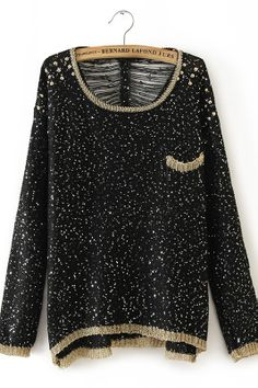 Rivet and Sequin Embellishment Crochet Sweater