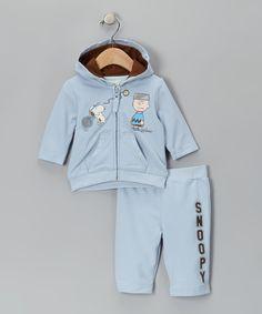 Peanuts Light Blue Zip-Up Hoodie & Pants - Infant