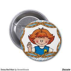 Daisy Red Hair 2 Inch Round Button