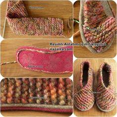 keine bottom-of-the-fàcil-home-sabata-botins d'òrgans Easy Knitting, Knitting Needles, Knitting Patterns, Crochet Patterns, Knitted Booties, Crochet Slippers, Felt Shoes, Sock Shoes, Learn To Crochet