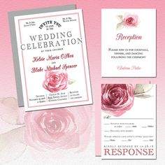 Delicate  Watercolor Roses Wedding Invitation Suite Deposit Listing by www.elevenelevenpixel.com