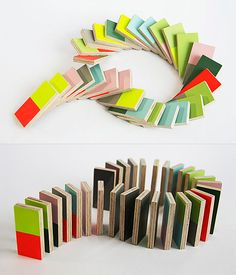 Pieces n Play is a simplified domino set. Designers at Lee Storm have replaced the dots with colors. Made of plywood, it's produced by Hay.
