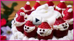 Here is a Christmas Cake with many cute Santas made from strawberries and cream! This is a very nice recipe with very nice taste and fun for making! I hope you