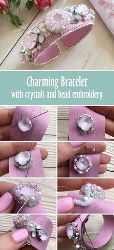 Tutorial: How to make beautiful bracelet with crystal and bead embroidery | Создаем браслет «Цветущая яблоня»: работаем с кристаллами Swarovski, натуральной кожей и японским бисером