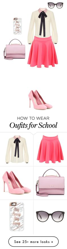 """back to school uniform"" by unicorns-pink on Polyvore featuring Roksanda, Pilot, WithChic, Casetify, Miu Miu and Gucci"