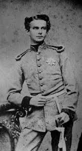 "King Ludwig II of Bavaria, at age twenty. Known now as ""Mad King Ludwig"" for eccentric behavior, he had three castles built (Neuschwanstein, Linderhof and Herrenchiemsee). His most famous quote was, ""I wish to remain an eternal enigma to myself and to others."""