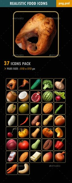 #Food Icons - #Miscellaneous #Game Assets Food Icon Png, Food Icons, Free Game Assets, Game Icon, Food Illustrations, Royalty, Link, Royals, Royal Families
