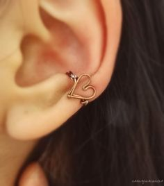 diy wire heart ear cuff