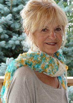 Crochet Scarf Turquoise Orange White Winter by hatsbyanne1942, $43.00