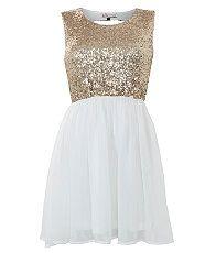 Cream (Cream) Parisian White and gold Sequin 2 in 1 Dress | 270262313 | New Look
