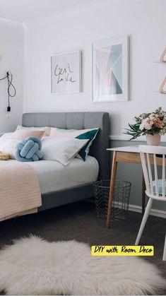 Decoration Bedroom, Diy Home Decor Bedroom, Small Room Bedroom, Trendy Bedroom, Bedroom Colors, Girls Bedroom, Bedroom Ideas, Small Rooms, Ikea Bedroom