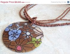 Spring Sale  Painted Shell Necklace Large Flower by cutterstone, $7.20